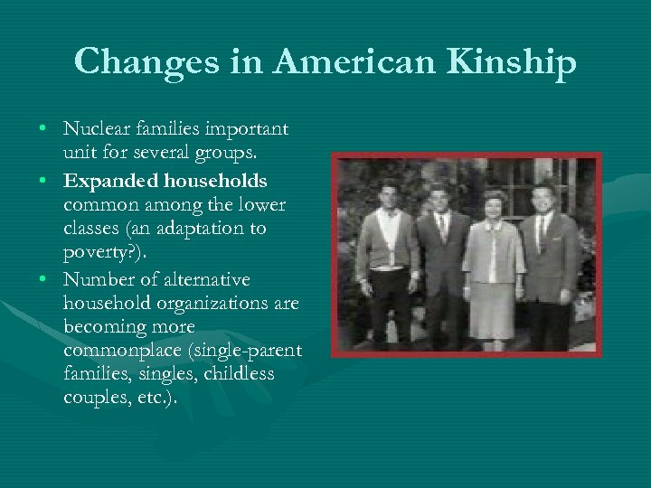 Changes in American Kinship • Nuclear families important unit for several groups. • Expanded