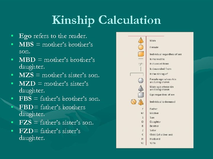 Kinship Calculation • Ego refers to the reader. • MBS = mother's brother's son.