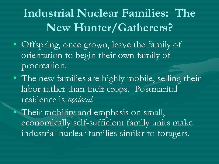 Industrial Nuclear Families: The New Hunter/Gatherers? • Offspring, once grown, leave the family of
