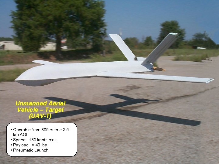 Unmanned Aerial Vehicle – Target (UAV-T) • Operable from 305 m to > 3.