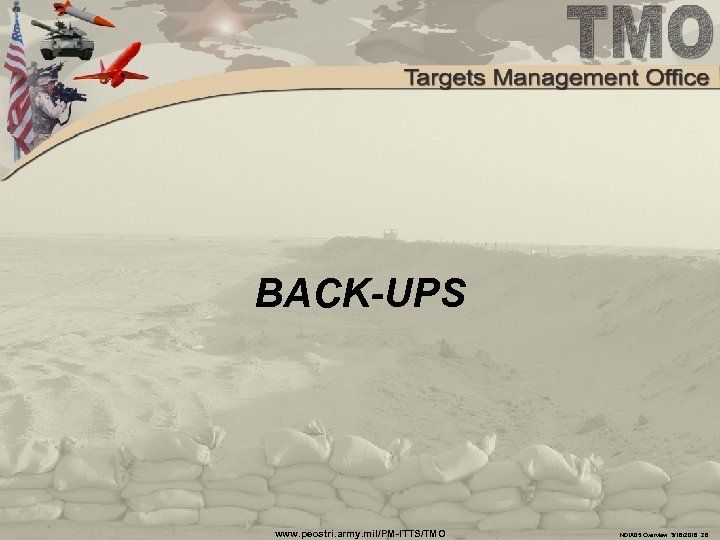BACK-UPS www. peostri. army. mil/PM-ITTS/TMO NDIA 05 Overview 3/16/2018 28