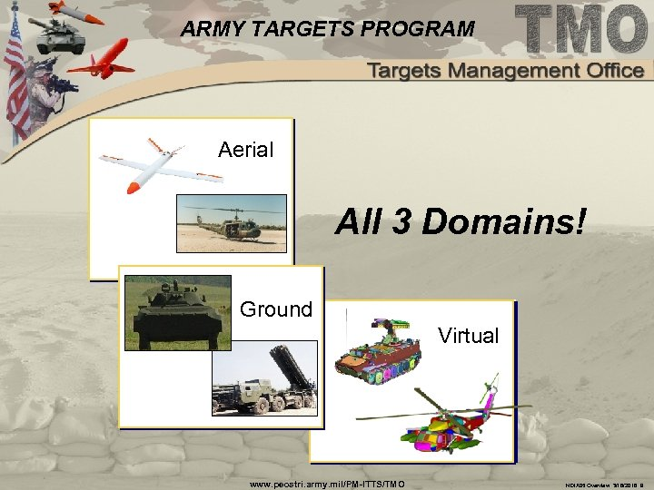 ARMY TARGETS PROGRAM Aerial All 3 Domains! Ground Virtual www. peostri. army. mil/PM-ITTS/TMO NDIA