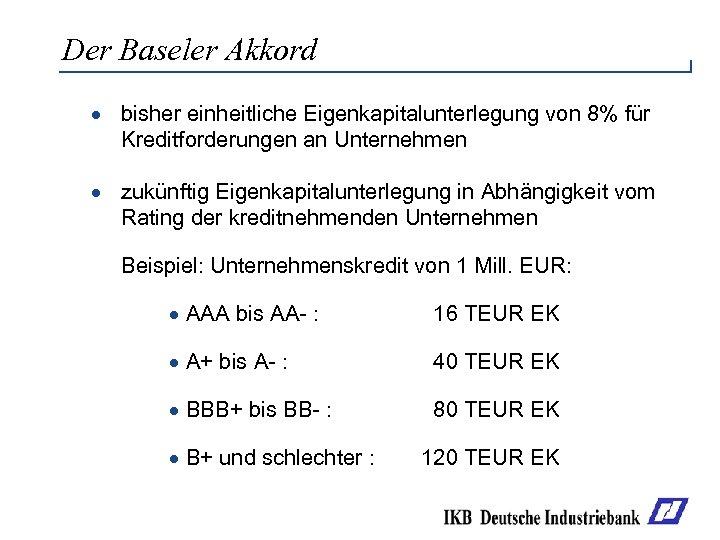 Der Baseler Akkord · bisher einheitliche Eigenkapitalunterlegung von 8% für Kreditforderungen an Unternehmen ·