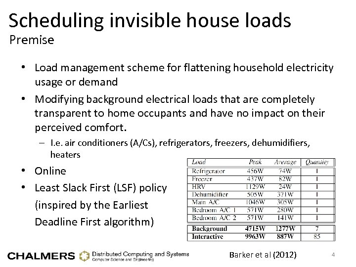Scheduling invisible house loads Premise • Load management scheme for flattening household electricity usage