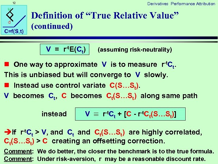 """12 u d C=f(S, t) Derivatives Performance Attribution Definition of """"True Relative Value"""" (continued)"""