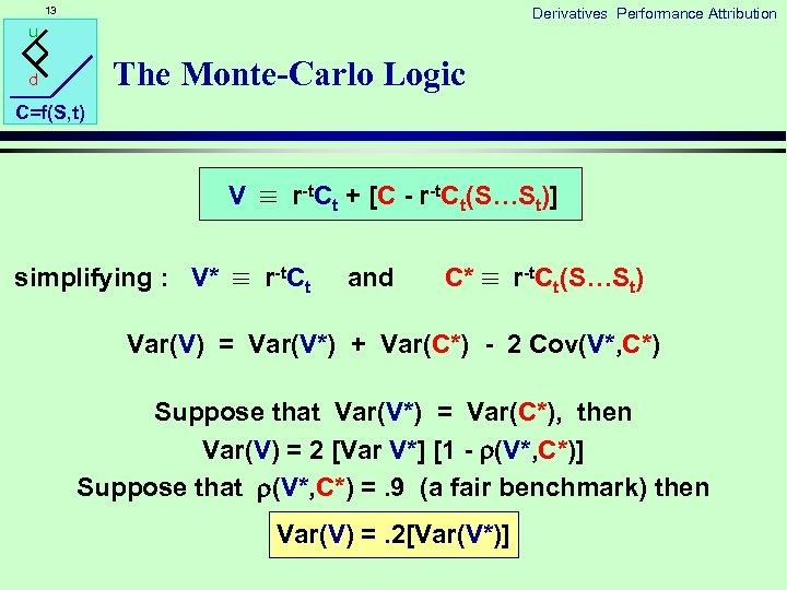 13 Derivatives Performance Attribution u The Monte-Carlo Logic d C=f(S, t) V r-t. Ct