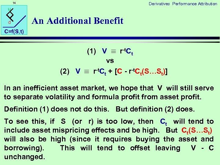 14 Derivatives Performance Attribution u d An Additional Benefit C=f(S, t) (1) V r-t.