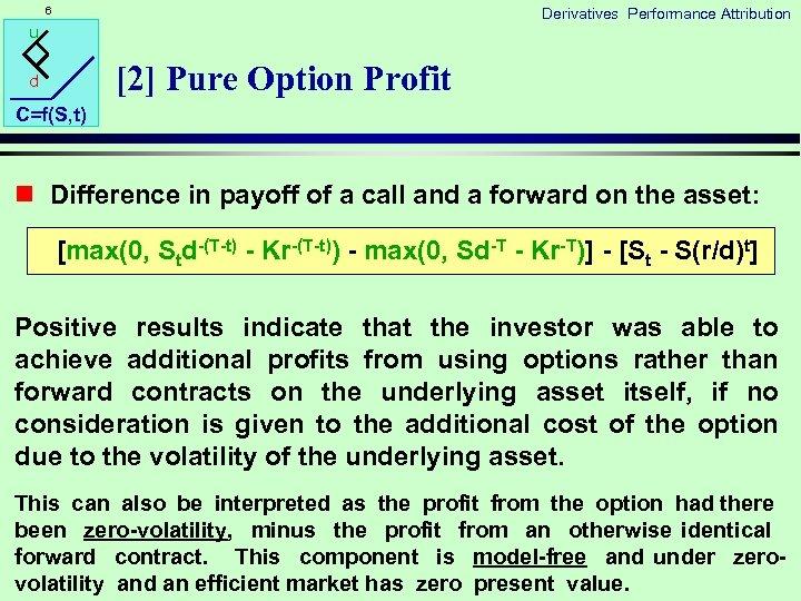 6 Derivatives Performance Attribution u [2] Pure Option Profit d C=f(S, t) n Difference