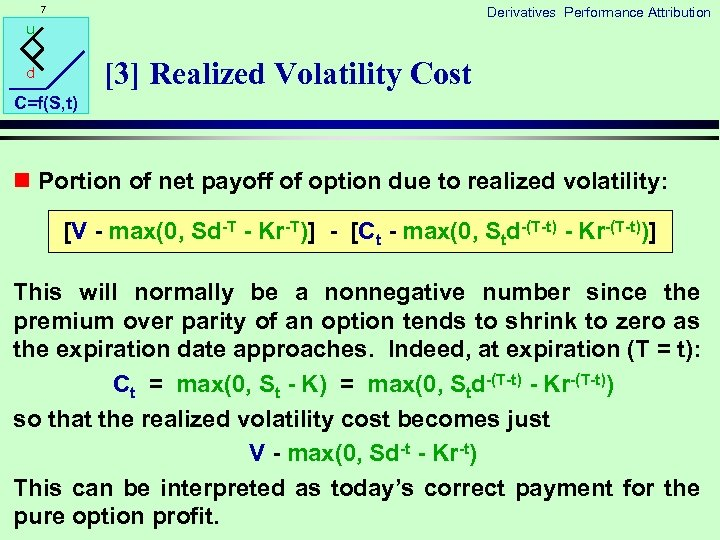 7 Derivatives Performance Attribution u [3] Realized Volatility Cost d C=f(S, t) n Portion