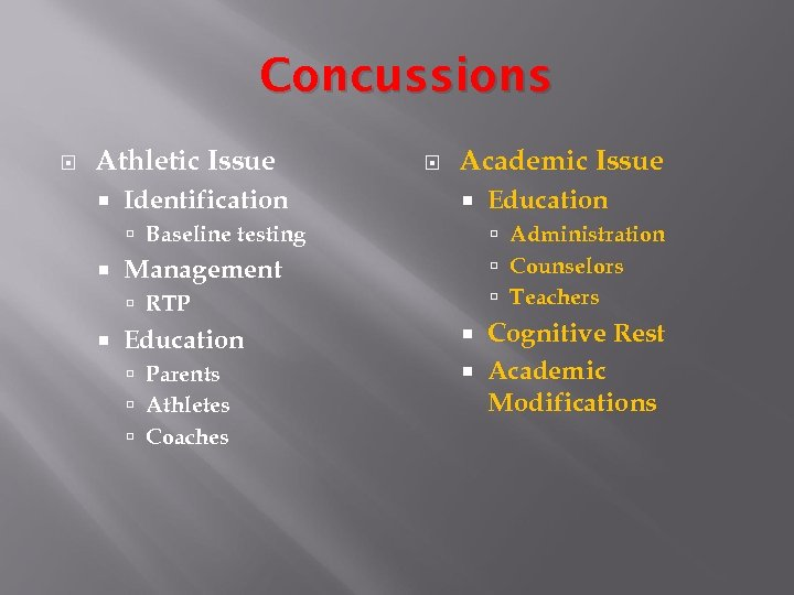 Concussions Athletic Issue Identification Academic Issue Baseline testing Administration Counselors Teachers Management RTP Education