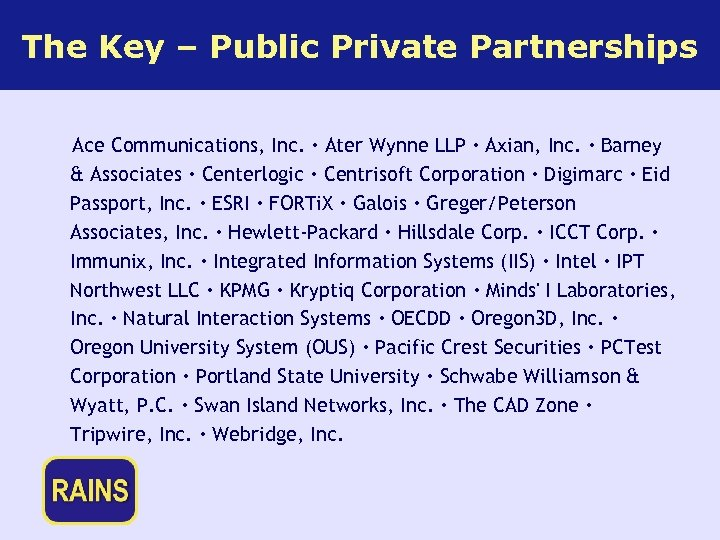 The Key – Public Private Partnerships Ace Communications, Inc. · Ater Wynne LLP ·