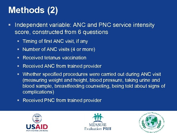 Methods (2) § Independent variable: ANC and PNC service intensity score, constructed from 6