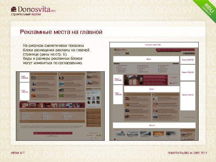 Рекламные места на главной На рисунках схематически показаны блоки размещения рекламы на главной странице