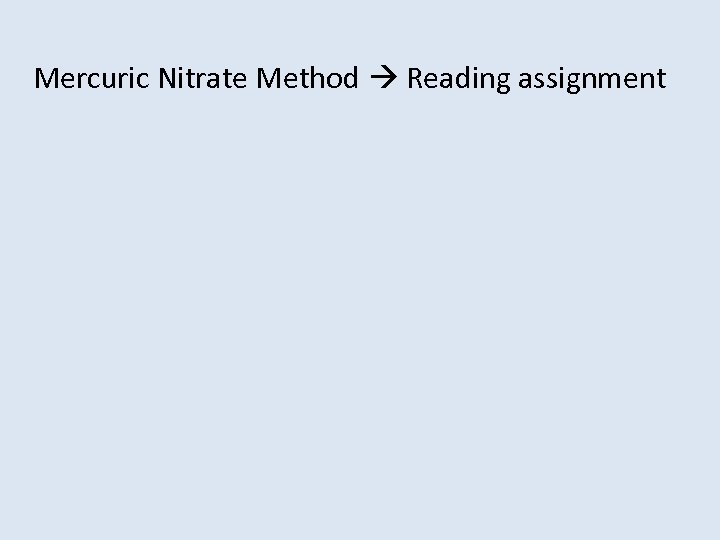 Mercuric Nitrate Method Reading assignment