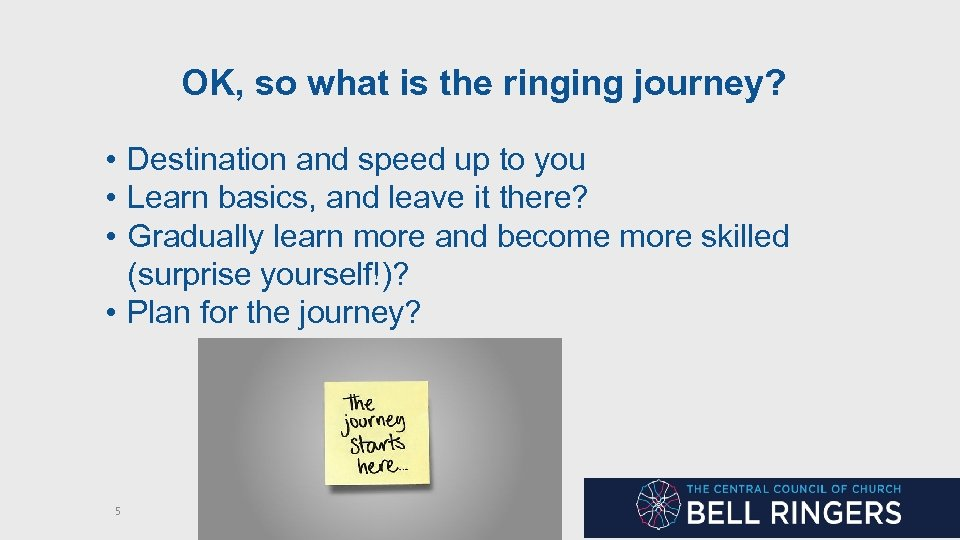 OK, so what is the ringing journey? • Destination and speed up to you