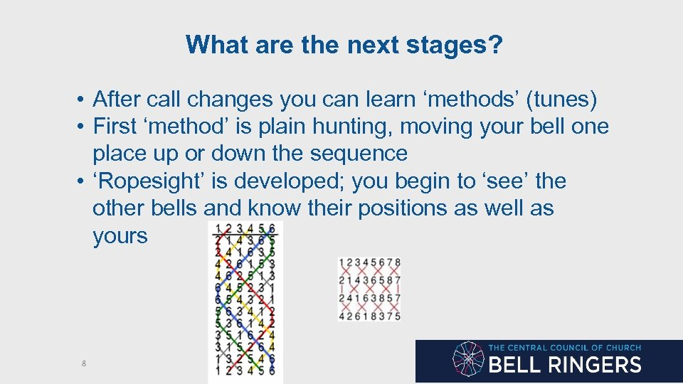 What are the next stages? • After call changes you can learn 'methods' (tunes)