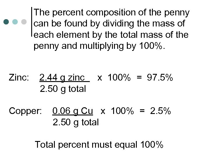 The percent composition of the penny can be found by dividing the mass of