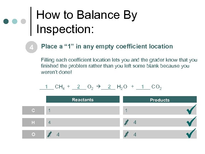 "How to Balance By Inspection: 4 Place a "" 1"" in any empty coefficient"