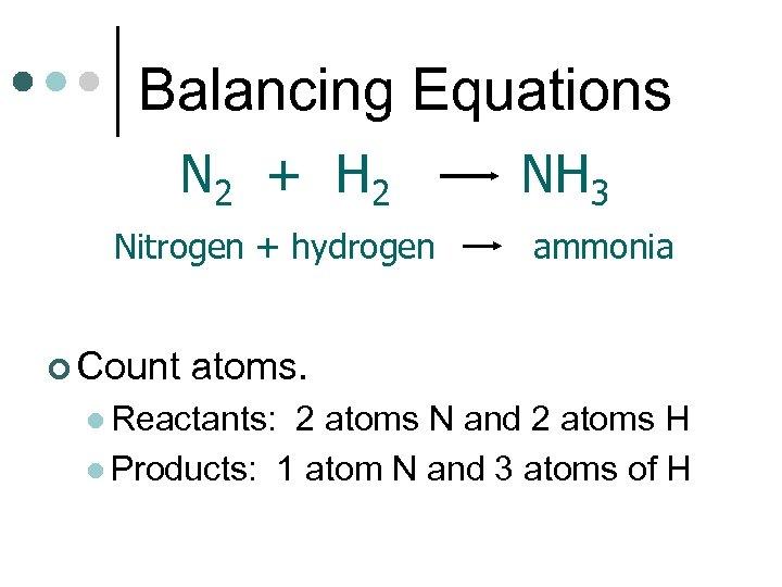 Balancing Equations N 2 + H 2 Nitrogen + hydrogen ¢ Count NH 3