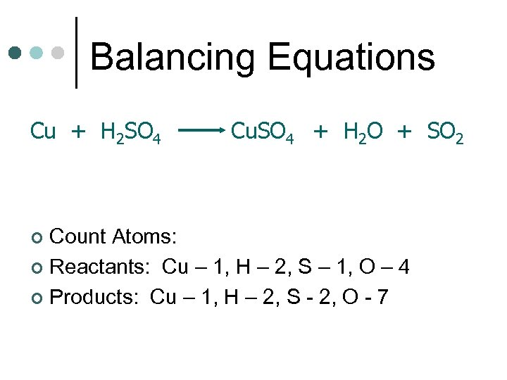 Balancing Equations Cu + H 2 SO 4 Cu. SO 4 + H 2