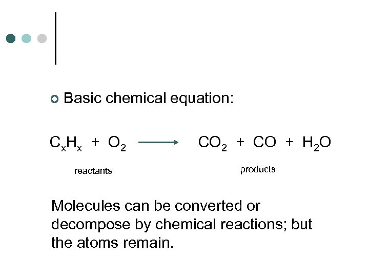 ¢ Basic chemical equation: Cx. Hx + O 2 reactants CO 2 + CO