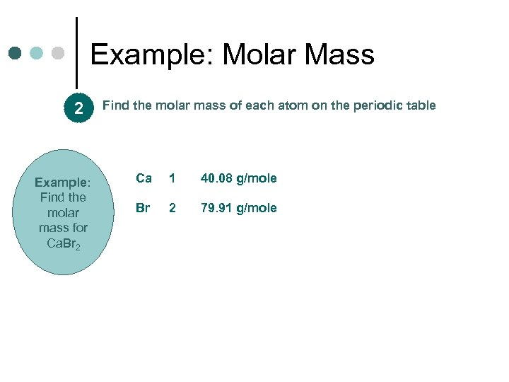 Example: Molar Mass 2 Example: Find the molar mass for Ca. Br 2 Find
