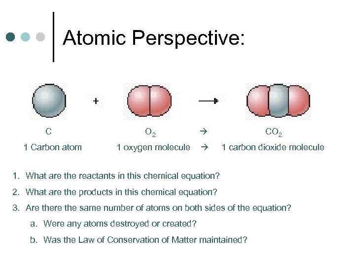 Atomic Perspective: C 1 Carbon atom O 2 1 oxygen molecule CO 2 1