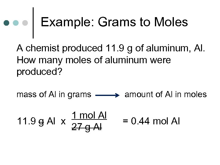 Example: Grams to Moles A chemist produced 11. 9 g of aluminum, Al. How