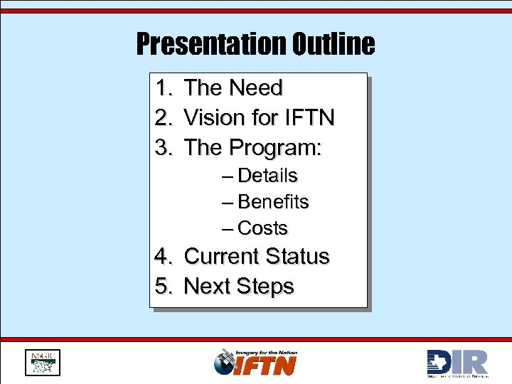 Presentation Outline 1. 2. 3. The Need Vision for IFTN The Program: – Details