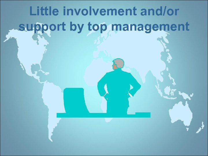 Little involvement and/or support by top management