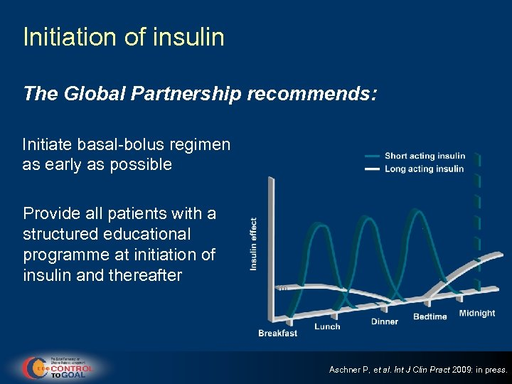 Initiation of insulin The Global Partnership recommends: Initiate basal-bolus regimen as early as possible