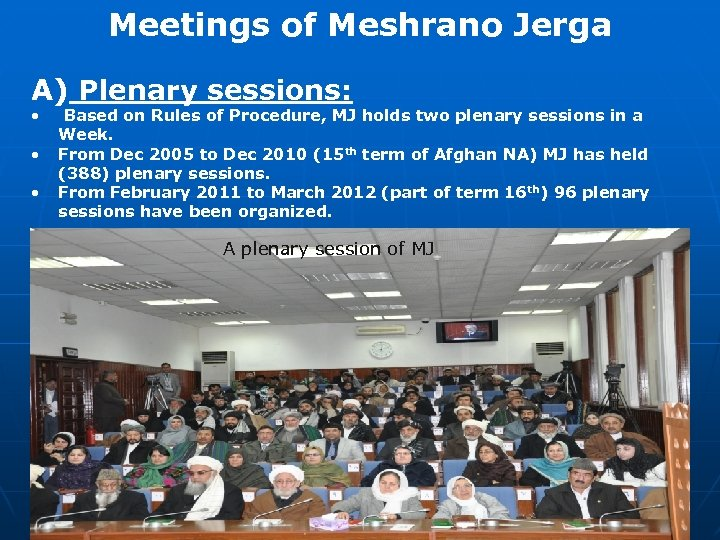 Meetings of Meshrano Jerga A) Plenary sessions: • • • Based on Rules of