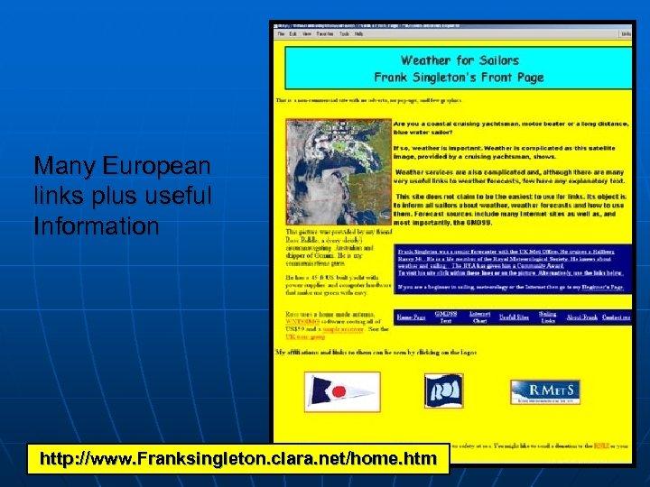 Many European links plus useful Information http: //www. Franksingleton. clara. net/home. htm