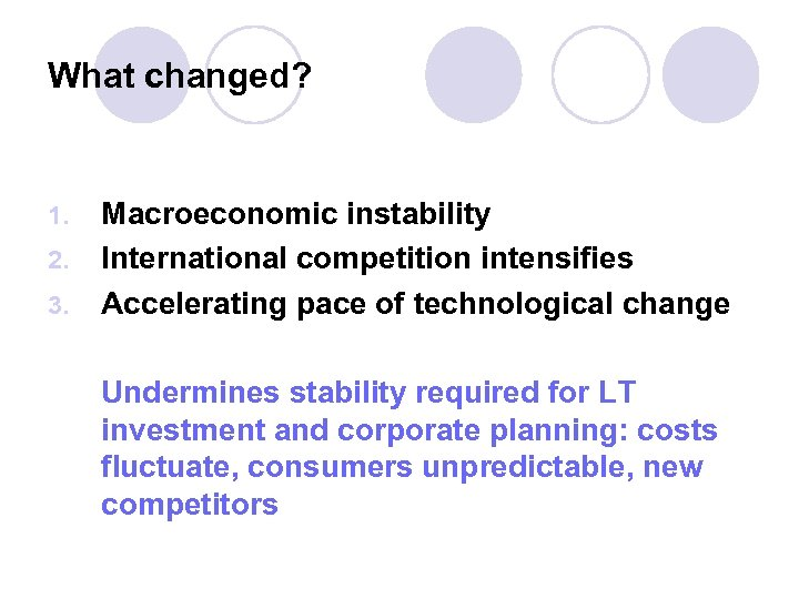 What changed? 1. 2. 3. Macroeconomic instability International competition intensifies Accelerating pace of technological