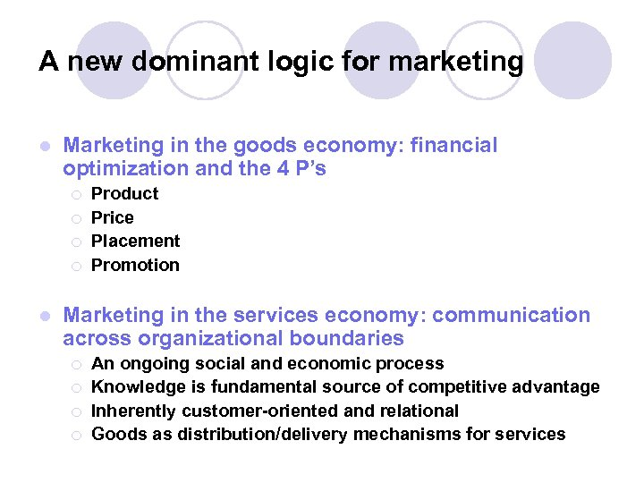 A new dominant logic for marketing l Marketing in the goods economy: financial optimization