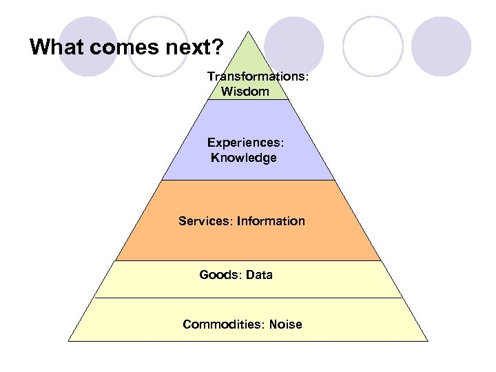 What comes next? Transformations: Wisdom Experiences: Knowledge Services: Information Goods: Data Commodities: Noise