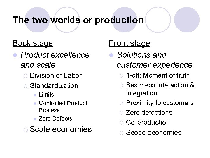 The two worlds or production Back stage l Product excellence and scale Division of