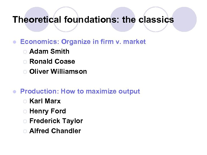 Theoretical foundations: the classics l Economics: Organize in firm v. market ¡ Adam Smith