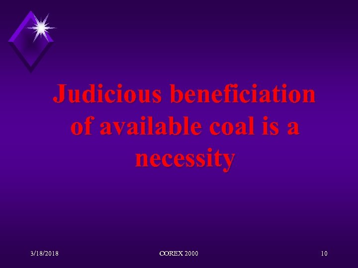 Judicious beneficiation of available coal is a necessity 3/18/2018 COREX 2000 10