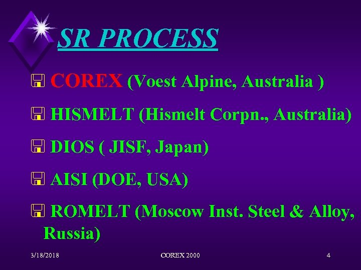 SR PROCESS < COREX (Voest Alpine, Australia ) < HISMELT (Hismelt Corpn. , Australia)