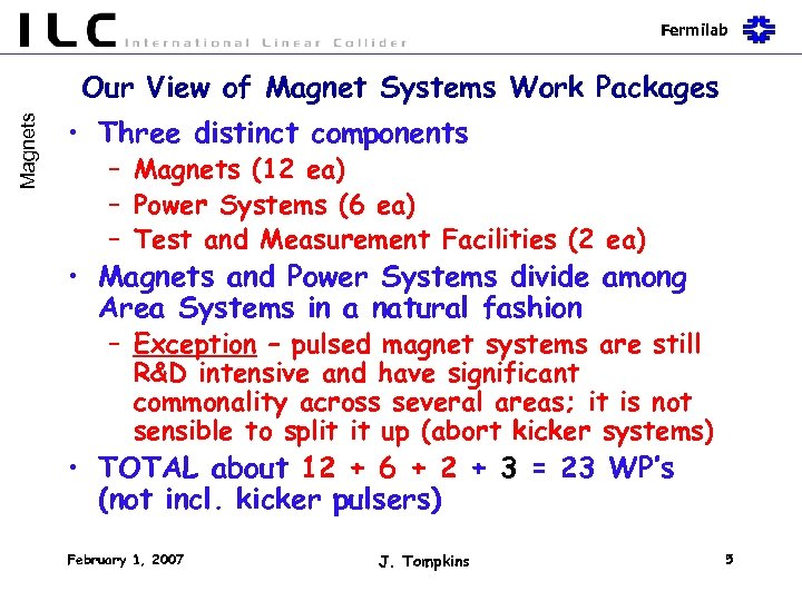Fermilab Magnets Our View of Magnet Systems Work Packages • Three distinct components –