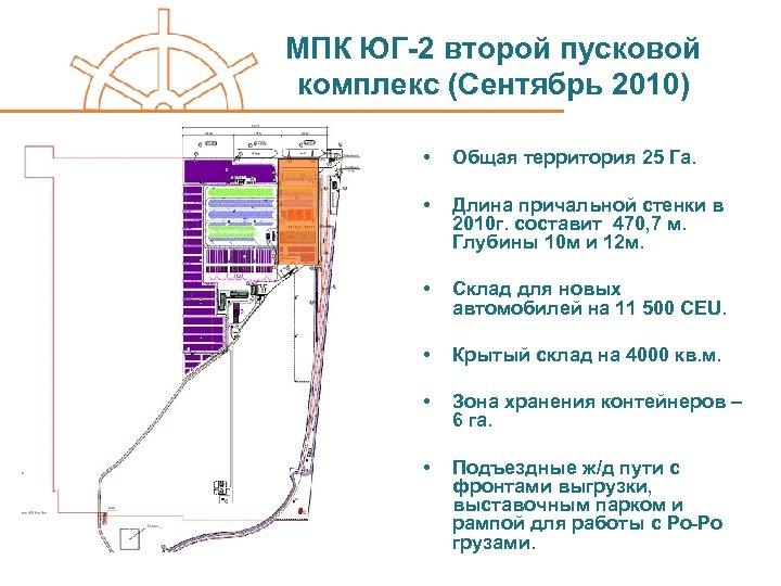 МПК ЮГ-2 второй пусковой комплекс (Сентябрь 2010) • Общая территория 25 Га. • Длина