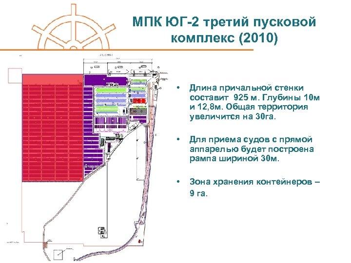 МПК ЮГ-2 третий пусковой комплекс (2010) • Длина причальной стенки составит 925 м. Глубины