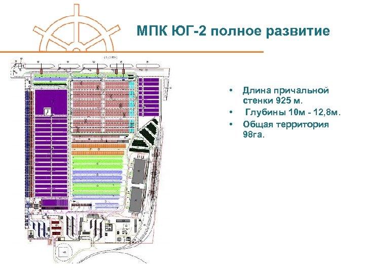 МПК ЮГ-2 полное развитие • • • Длина причальной стенки 925 м. Глубины 10