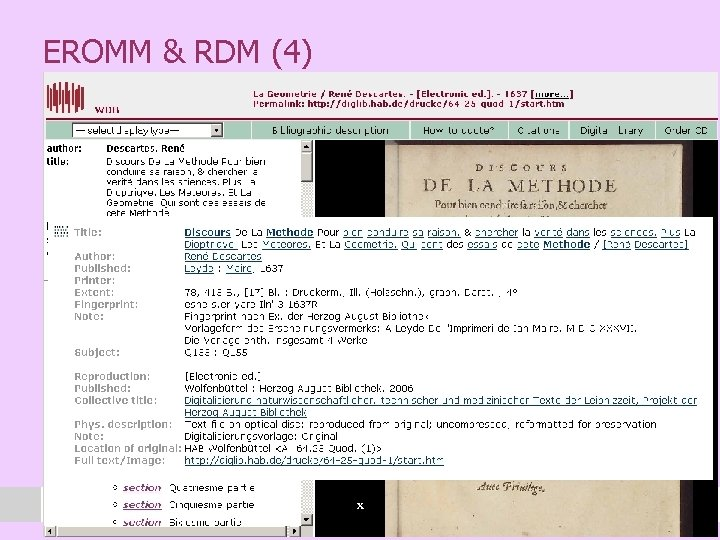 EROMM & RDM (4) l Another example of an EROMM record that shows the