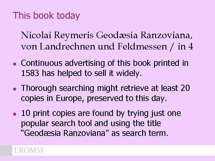 This book today Nicolai Reymeris Geodæsia Ranzoviana, von Landrechnen und Feldmessen / in 4