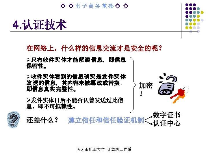 ◇ ◇电子商务基础◇ ◇ 4. 认证技术 在网络上,什么样的信息交流才是安全的呢? Ø只 有 收 件 实 体 才 能