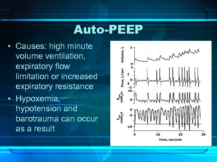 Auto-PEEP • Causes: high minute volume ventilation, expiratory flow limitation or increased expiratory resistance