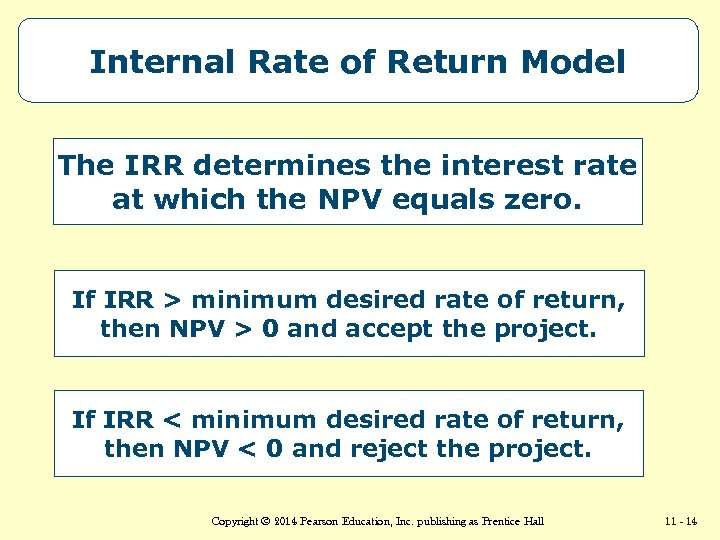 Internal Rate of Return Model The IRR determines the interest rate at which the