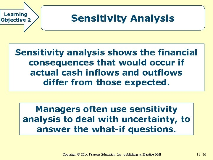 Learning Objective 2 Sensitivity Analysis Sensitivity analysis shows the financial consequences that would occur
